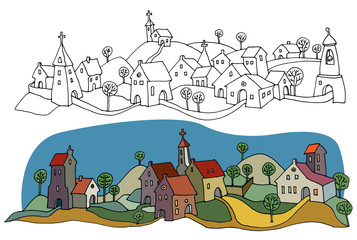 Hand drawn houses or rural landscape, color version