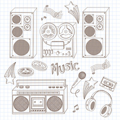 Retro tape recorders, headphones and microphone