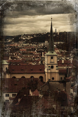 Prague Old Town - dark old vintage retro photo stylized.