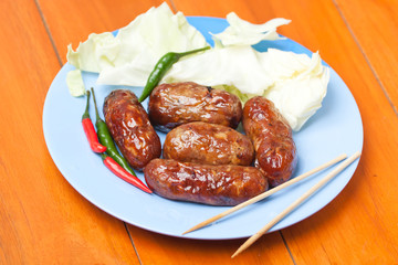 thai food Sai Krawk E-san (Sausage Northeastern Style) ,meat sal