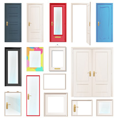 Collection of doors. Vector illustration.