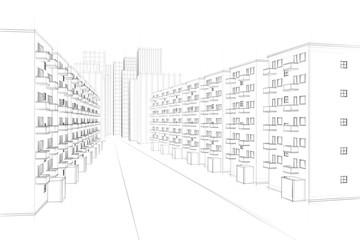 drawing of a urban street