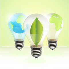 Collection of realistic eco bulb. Vector background design.