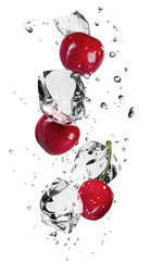 Printed roller blinds Splashing water Fresh cherries with ice cubes, isolated on white background