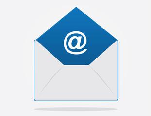 Floating email envelope with symbol inside