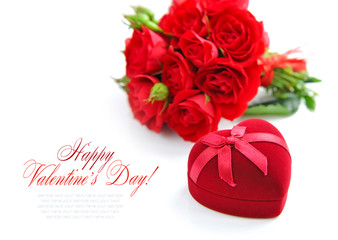 Red roses with Heart-shaped Gift Box on white background