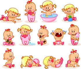 Векторные иллюстрации новорожденных девочек