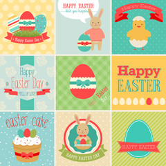 Wall Mural - Easter set - greeting cards. Vector illustration.