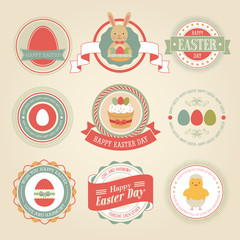 Wall Mural - Easter set - labels and emblems. Vector illustration.