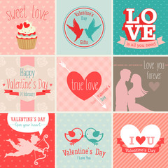 Wall Mural - Valentine`s Day set - greeting cards. Vector illustration.
