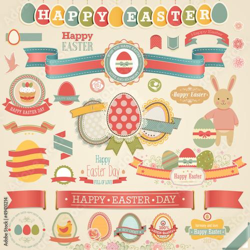 Wall mural Easter scrapbook set - labels,