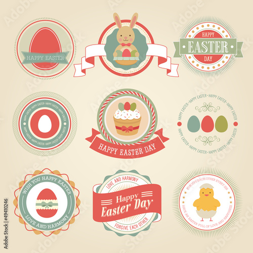 Wall mural Easter set - labels and emblems. Vector illustration.