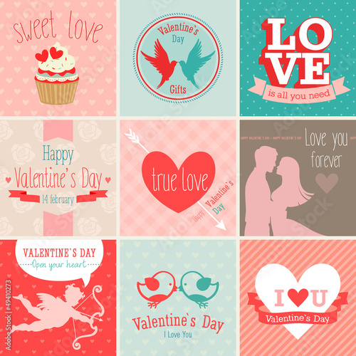Wall mural Valentine`s Day set - greeting cards. Vector illustration.