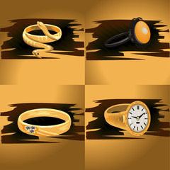 Illustrations Gold Rings With Stones