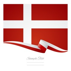 Danish flag ribbon background vector
