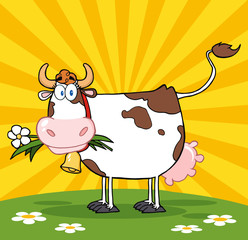 Poster Ranch Cartoon Dairy Cow With Flower In Mouth On A Meadow