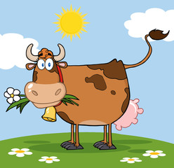 Poster Ranch Brown Dairy Cow With Flower In Mouth On A Meadow