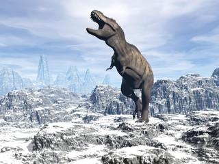 Tyrannosaurus in the snow - 3D render