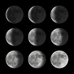 Set of moon phases for new, half, and full