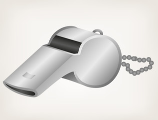 Sports whistle with pea. Style vector