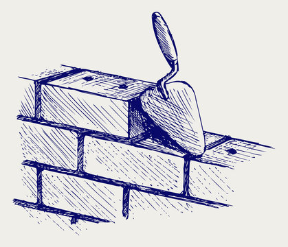 Trowel and bricks. Doodle style