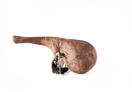 carved old Middle Eastern wineskin maden from animals stomach