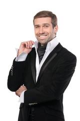Smiling stylish businessman. Isolated on white