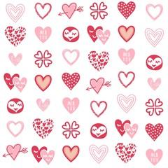 komiksowe serca romantyczne tło czerwień róż biel