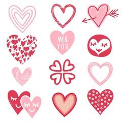 romantyczne komiksowe serca zestaw czerwień róż biel
