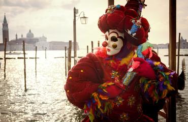 Wall Mural - Venetian clown with puppet
