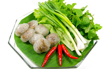 """Kanom sago"", Thai snack, powdery starch from certain sago palms"
