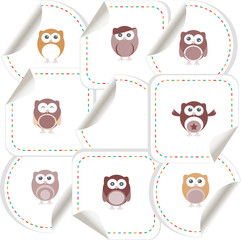 Set of doodle owls for funny decoration, such a logo stickers