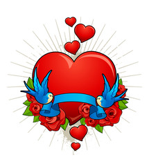Vector illustration of hearts with birds, roses and ribbon