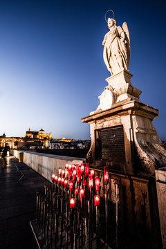 San Rafael Archangel Statue night in Cordoba - Spain.