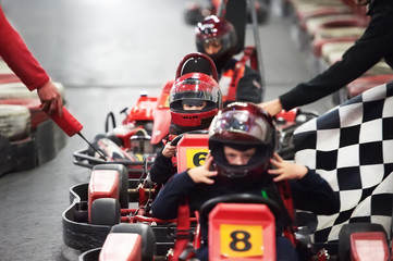 Deurstickers Motorsport Competition for children karting