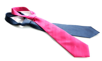 pink and blue tie isolated on white