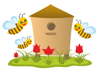 Beehive with bees