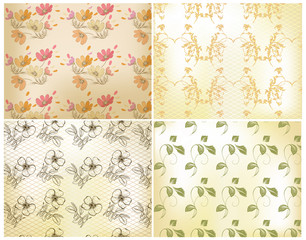 Floral seamless wallpaper set