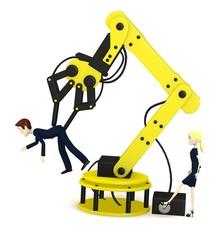 Spoed Foto op Canvas Robots 3d render of cartoon character controling another