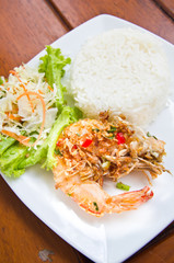 spicy shrimp fried with jasmine rice and vegetable