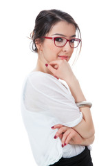 Isolated girl with eyeglasses touching her chin on white
