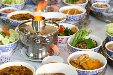 thai style food set with the hot pot