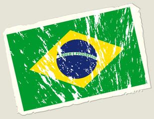 Grunge flag of Brazil