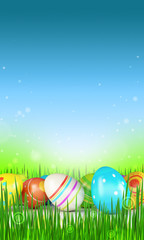 Easter eggs over blue background