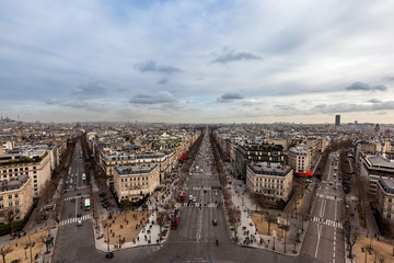 Fototapete - Champ Elysees road from the top Arc de Triomphe