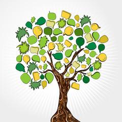 Hand drawn social media tree