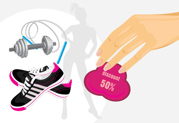 Discounts on sporting equipment. Banner
