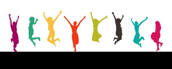 8 colored jumping silhouettes isolated on white background