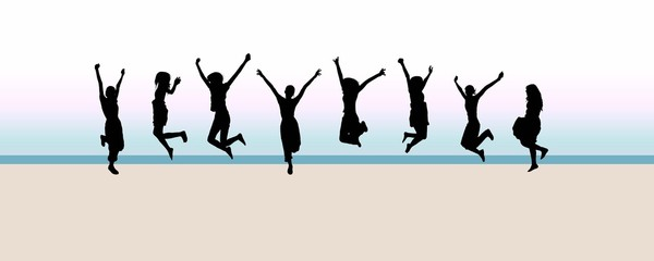 8 jumping silhouettes in front of morning beach background