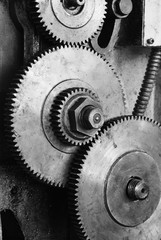 Dirty gear of lathe machine
